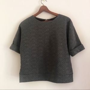 Banana Republic Gray Quilted Short Sleeve Top S